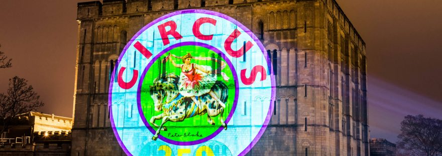 Circus250 logo projection Norwich Castle 9 1 2018 by Doublt Take Projections