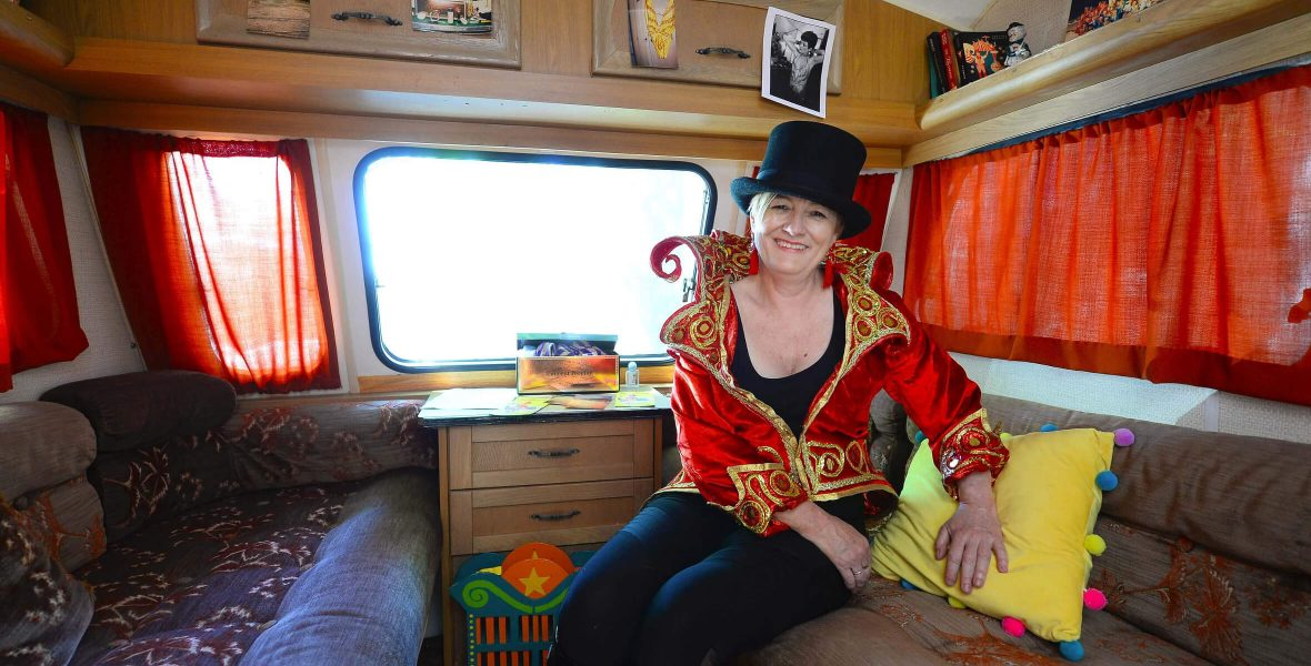 Dea Birkett in the Circus250 Caravan at The Homecoming festival, Newcastle-under-Lyme, birthplace of Philip Astley