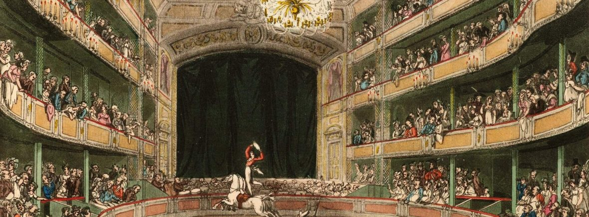 "H""Astley's Amphitheatre"" colored plate from Microcosm of London, 1808."