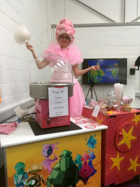 Miss Flossie of Let's Circus at Cambridge Science Centre opening